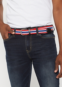 Americana Striped Woven Stretch Belt