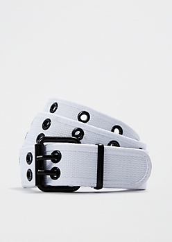 White Grommet Web Belt