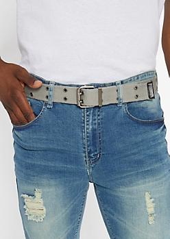 White And Gray Reversible Web Belt