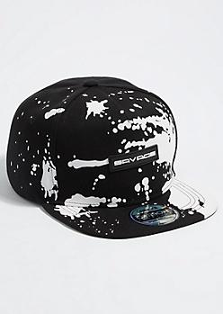 Black Splatter Paint Print Savage Snapback Hat