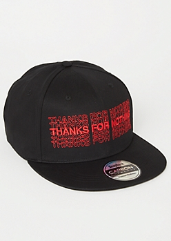 Black Thanks For Nothing Embroidered Snapback Hat
