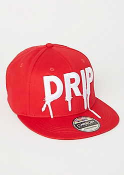 Red Drip Embroidered Snapback Hat