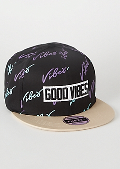 Black Good Vibes Colorblock Snapback Hat