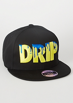 Black Drip Embroidered Snapback Hat