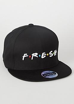 Black Fresh Dot Print Snapback Hat