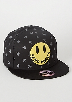 Black Star Print Smiley Embroidered Snapback Hat