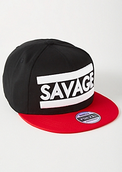 Black Colorblock Savage Embroidered Snapback Hat