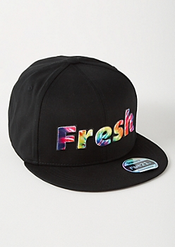 Black Tie Dye Fresh Embroidered Snapback Hat