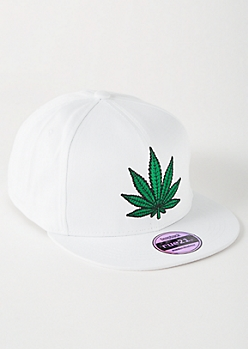 White Weed Print Embroidered Snapback Hat