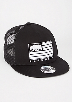 Black California Republic Trucker Flat Cap