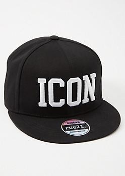 Black Embroidered Icon Snapback Hat