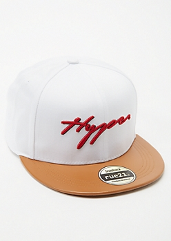 White Colorblock Hype Embroidered Snapback Hat