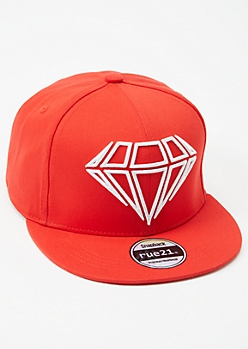Red Diamond Embroidered Snapback Hat