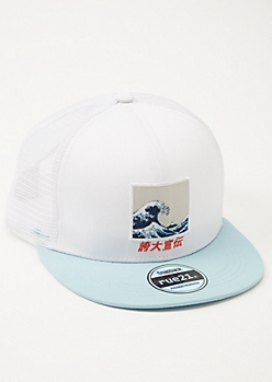 White Kanji Wave Trucker Snapback Hat