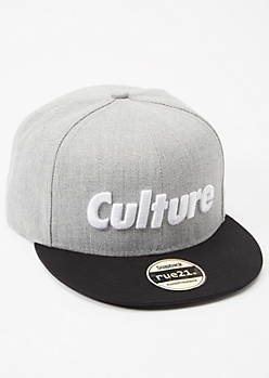 Gray Colorblock Culture Embroidered Snapback Hat