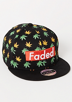 Black Weed Print Faded Embroidered Snapback Hat