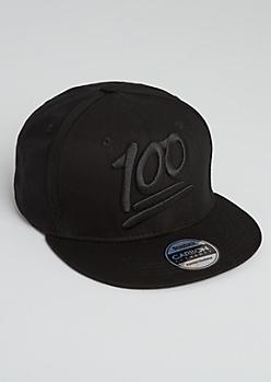 Black 100 Percent Snapback Hat