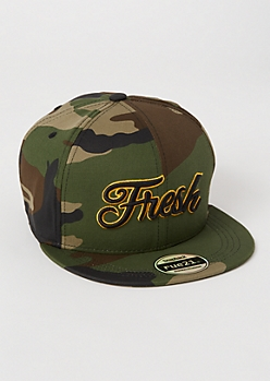 Camo Print Fresh Embroidered Snapback Hat