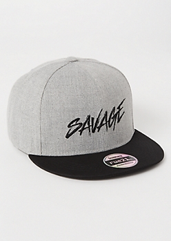 Gray Savage Embroidered Snapback Hat