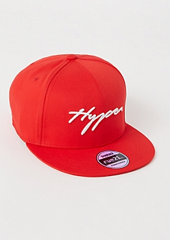 Red Hype Embroidered Snapback Hat