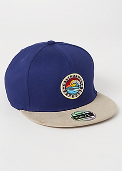 Navy California Republic Embroidered Snapback Hat