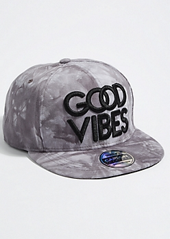 Gray Tie Dye Good Vibes Snapback Hat