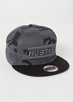 Gray Camo Print Hustle Embroidered Snapback Hat