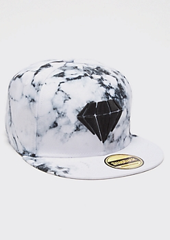 White Marble Print Diamond Embroidered Snapback Hat
