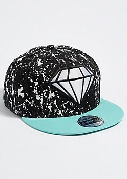 Black Splatter Paint Diamond Snapback Hat