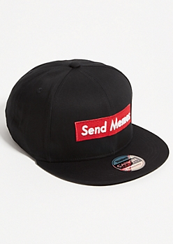 Black Send Memes Embroidered Snapback Hat