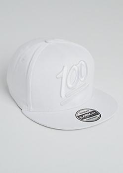 White 100 Percent Snapback Hat