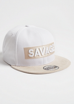 White Contrast Savage Patch Snapback Hat