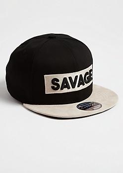 Black Contrast Savage Patch Snapback Hat