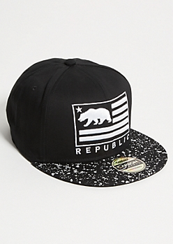 Black Paint Splattered California Bear Snapback Hat