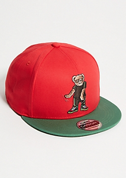 Red Flossing Bear Embroidered Snapback Hat