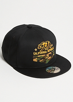 Black Camo Print California Republic Embroidered Snapback Hat