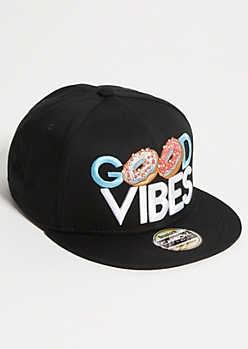 Black Donut Vibes Embroidered Snapback Hat