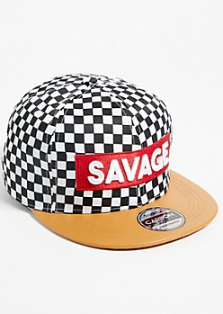 Checkerboard Savage Faux Leather Brim Snapback Hat