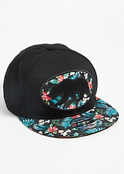 California Bear Floral Print Colorblock Snapback Hat