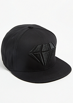 Black Diamond Flat Brim Snapback Hat