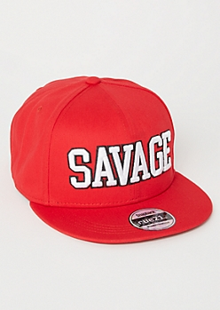 Red Savage Embroidered Snapback Hat