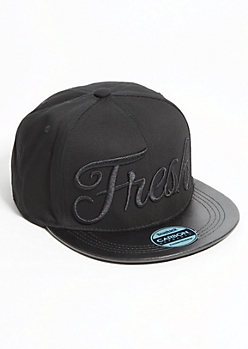 Fresh Black-On-Black Faux Leather Brim Snapback