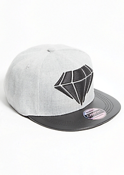 Diamond Faux Leather Brim Snapback