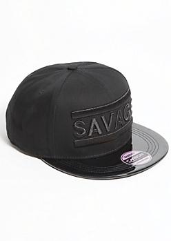 Black Patent Savage Snapback Hat