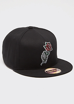 Black Skeletal Rose Embroidered Snapback Hat