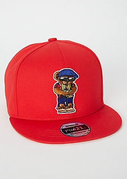 Red Bear Embroidered Patch Snapback Hat