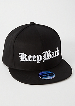 Black Embroidered Keep Back Flat Brim Hat