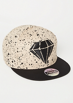 Tan Paint Splattered Diamond Embroidered Snapback Hat