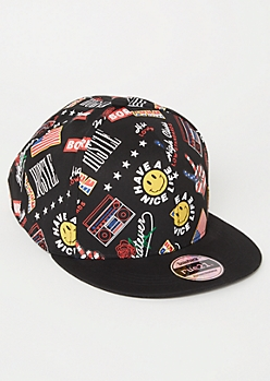 Black Smiley Americana Print Snapback Hat