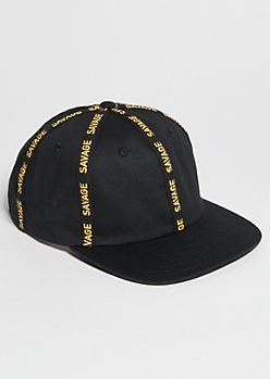 Black Savage Striped Snapback Hat